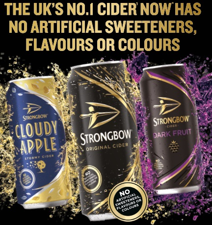 Image for Strongbow relaunches its range with no artificial sweeteners, flavours or colours